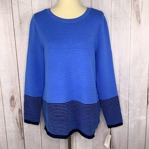 Charter Club Textured Blouse Blue and Navy L